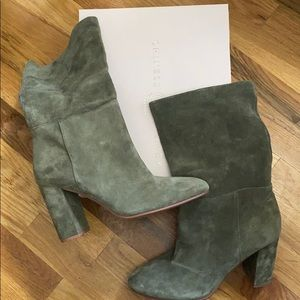 Beautiful perfect olive green booties 9.5